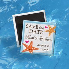 Cute kawaii starfish beach wedding Save the Date Magnet