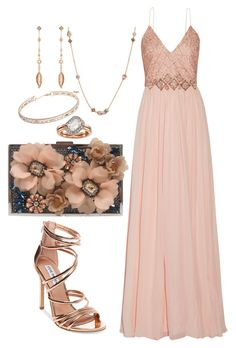 """Rose gold prom night"" by ericajayne24 ❤ liked on Polyvore featuring Badgley Mischka, Crislu, Anne Klein, Kendra Scott, Swarovski, Steve Madden, Sondra Roberts and PROMNIGHT"