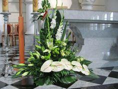 Altar Flowers, Church Flower Arrangements, Church Flowers, Funeral Flowers, Floral Arrangements, Wedding Flowers, Altar Decorations, Flower Decorations, Flores Do Altar