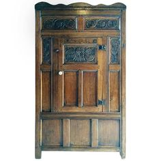 Continental Flemish Antique Cupboard Wardrobe Solid Oak Gothic, 18th Century | From a unique collection of antique and modern wardrobes and armoires at https://www.1stdibs.com/furniture/storage-case-pieces/wardrobes-armoires/