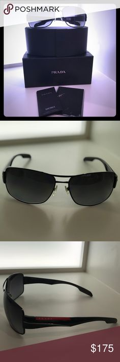 NWT PRADA Linea Rossa PS 53NS Men's Sunglasses Performance and luxury with classic navigator style, over sized square lenses and a double bridge metal brow.  Black polarized grey gradient lens 7AX5W1. Comes with cleaning cloth and protective carrying case as well as box. Prada Linea Rossa Accessories Sunglasses
