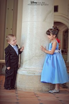 """Take a """"first look"""" picture of your flower girl and ring bearer, too! Such a cut idea!"""