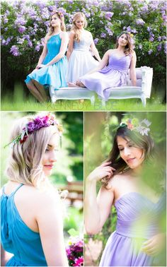Mix and match pastel bridesmaid dresses in lilac, teal, silver, and mint for a perfect spring or summer-wedding look!