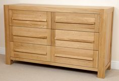 Fresco Natural Solid Oak 6 Drawer Chest