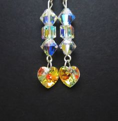 Swarovski Elements Heart Earrings  Dangle by WhispySnowAngel
