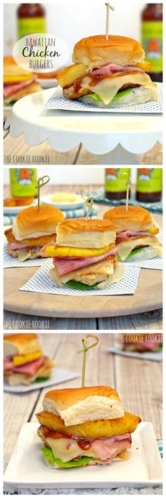 Hawaiian Chicken Burger Sliders!! Perfect for SUMMER BBQs and HEALTHY!!! #summer #yum #slider - The Cookie Rookie