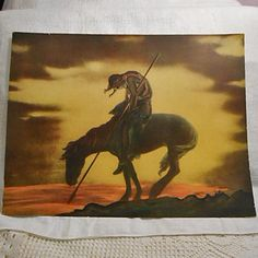 END of TRAIL Original Litho Print Gold Brown Sunset by AzaleaTrail