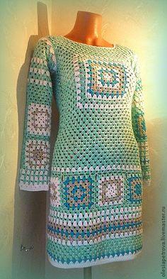 Платье-туника Арлекин - бирюзовый,орнамент,Бабушкин квадрат,вязаное платье