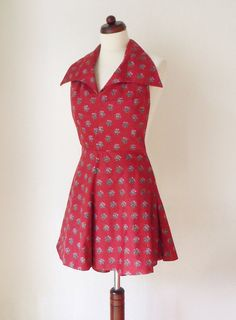 Vintage Dress  1970's Red Mini Dress with von PaperdollVintageShop, €29,90