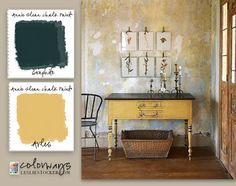 Console: Annie Sloan Chalk Paint - Arles, Graphite / Colorways by Leslie Stocker Yellow Chalk Paint, Chalk Paint Colors, Chalk Paint Projects, Chalk Paint Furniture, Furniture Makeover, Diy Furniture, Paint Swatches, Annie Sloan Chalk Paint, Distressed Furniture