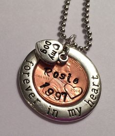 Forever In My Heart Dog Pendant.  Custom Stamped by Lexiandfriends
