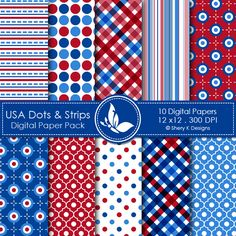 USA Dots & Strips  This listing is for 10 printable High Quality Digital papers.    Each paper measures 12 x 12 inch, 300 DPI, JPEG format.    Great for book and photo album covers, gift wraps, bookmarks, scrapbooking, invitations and making cards, stationary, labels and tags,jewelry, collages, stickers, photographers.
