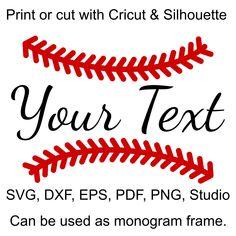 Baseball Stitches SVG file for Cricut and Silhouette, to make Baseball Monograms, Baseball Mom and Baseball Sister shirts