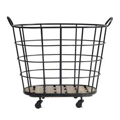 metal basket on wheels by out there interiors | notonthehighstreet.com