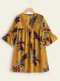 Smock Dress, Dress P, Lace Insert, Latest Dress, Black Cotton, Smocking, Plants, Sleeves, Lace Inset