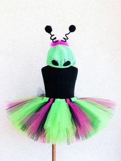 OMG!!! Alien Princess - Custom Sewn Alien Tutu Costume - Includes a tutu and beanie wth antenna - size NB to 5T - Perfect for Halloween. $48.00, via Etsy.