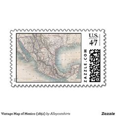 Vintage Map of Mexico (1851) Postage Stamp