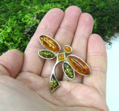 Natural Baltic Amber brooch Dragonfly brooch pin USSR vintage silver brooches 70s jewelry Honey Green amber insect jewery unique funny gift by SanaGem on Etsy
