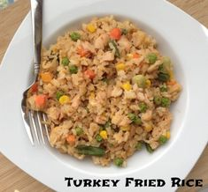fried rice with turkey leftovers… part of my freezer clean out :) I think I'll add more veg to mine