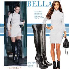 Bella Hadid trägt ein graues Pulloverkleid mit hohem Rollkragen und dazu schwarze Overknees
