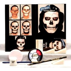 Skull makeup kit with creme makeup wheel, tools and instructions, from Graftobian. Makeup kit for skull or skeleton makeup looks. Halloween Makeup Kits, Halloween Gifts, Halloween Costumes, Skeleton Costumes, Halloween Ideas, Halloween Stuff, Happy Halloween, Halloween 2018, Spooky Halloween