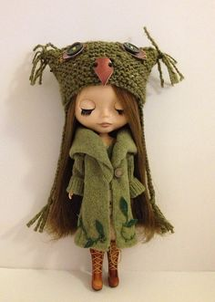 Super simple owl hat for Blythe Doll pattern by Jane Pierrepont