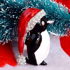 Christmas Penguin Brooch Pin