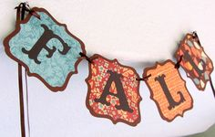 FALL Banner/Garland with Teal, Thanksgiving, Autumn, decoration, bunting teacher gift harvest decor swag on Etsy, $8.20