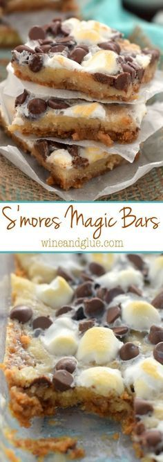 S'mores Magic Bars will disappear almost as fast as you can make them, they are irresistible!These S'mores Magic Bars will disappear almost as fast as you can make them, they are irresistible! Magic Cookie Bars, Magic Bars, Easy Desserts, Delicious Desserts, Yummy Food, Fast Dessert Recipes, Baking Recipes, Cookie Recipes, Bar Recipes