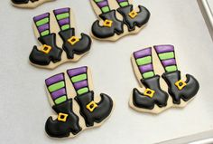 leggy little witch cookies. Can use the onesie cookie cutter upside down for these.