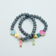 Grey crystal elastic bracelets