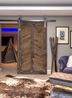 The Legacy Door is a contemporary chevron look, an amazing art piece for the wow factor in any room. As Pictured: Alder + Custom Finish+ Industrial Hardware Lead Times & Shipping Door Design, House Design, Interior Sliding Barn Doors, Sliding Doors, Contemporary Interior Design, Basement Remodeling, Wood Doors, Home Deco, Home Projects