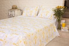 Printed Bed Sheets - Quality Sheets - Designer Sheets - Cotton Bedspreads - Hand Block Printed from Attiser Bed Sheets Online, Cheap Bed Sheets, Bedding Sets Online, Teal Bedspread, Yellow Bedding, Bedroom Yellow, Yellow Quilts, Floral Bedding, Country Bedding Sets