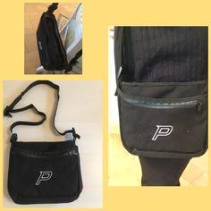 Frisbeegolfbägistä (2kpl) purettu taskut ja tehty käsilaukku.  Tässä laukussa 7 eri taskua, 4 vetoketjulla ja 3 avotaskua. Kaikki materiaali vanhoista bägeistä.7/2017