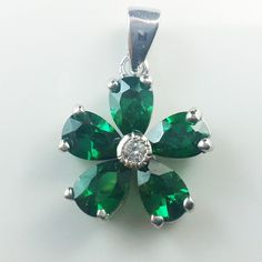 Green Aloha Flower  925 Sterling Silver Pendant  Green cubic Zirconia  Rodium Plated  $ 39.00
