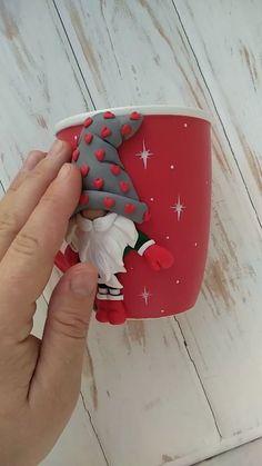 Mug for Christmas, Christmas Mug for Kids, Red Christmas Mug, Gnomes for Christmas, Mug with Gnome – Gift Ideas Personalized Christmas Mugs, Red Christmas, Christmas Gnome, Christmas Videos, Clay Mugs, Diy Gifts, Handmade Gifts, Polymer Clay Crafts, Cold Porcelain