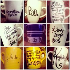 simply buy mugs from the dollar store, use sharpie to write & bake when complete at 350 for 30 mins.