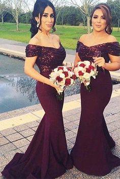bridesmaid Dress,Mermaid Bridesmaid Dress, Bridesmaid Dresses,Gorgeous Off-the-shoulder Bridesmaid Dresses,Mermaid Bridesmaid Dress,burgundy Bridesmaid Dress