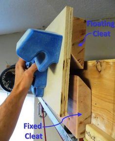 "The French Cleat concept: The upper incut board (fastened to a piece of plywood and one half of the RPTC) hooks onto the lower, fixed incut board. This allows the upper unit to ""float"" freely from side to side along the fixed cleat. Rock Climbing Training, Climbing Workout, Rock Climbing Gear, Indoor Climbing Wall, Climbing Technique, Bouldering Wall, Ninja Training, Climbing Holds, Home Gym Design"