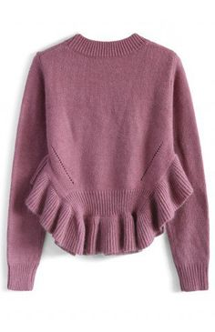 Adorable Frilling Hemline Sweater in Violet - Retro, Indie and Unique Fashion