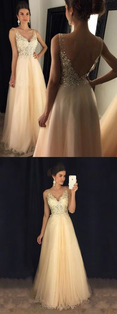 Glamorous A-line V-neck Formal Dresses, Tulle Long Party Dresses, Lace Evening Gowns, Backless Prom Dresses, Long Homecoming Dresses