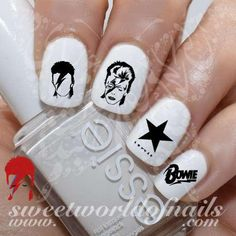 David Bowie Nail Art Nail Water Decals Transfers Wraps 20 water decals on a clear water transfer which can be applied over any color varnish on either your na Nail Water Decals, Nail Decals, Nail Stickers, Music Nail Art, Music Nails, Cat Nail Art, Cat Nails, Dance Nails, David Bowie Art