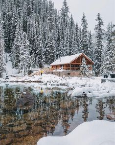 How perfect is this cabin? Clear water and snow for days! snow 22 Must See Winter Cabins Deep In The Woods - Deluxe Timber Snow Cabin, Forest Cabin, Winter Cabin, Winter House, Cabins In The Woods, House In The Woods, Cabins In The Snow, Winter Scenery, Kabine