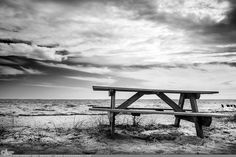 """Picture-A-Day (PAD n.2279) """"Cold Sand"""" ~Amy, DangRabbit Photography Picnic Table at the Beach, Long Island, NY"""