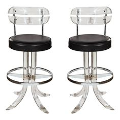 Pair of Mid Century Lucite Bar Stools | From a unique collection of antique and modern stools at https://www.1stdibs.com/furniture/seating/stools/