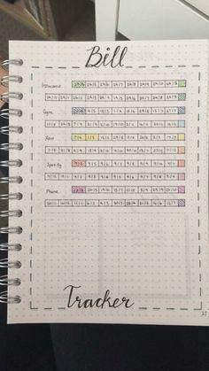 bill tracker for your bullet journal