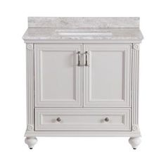 Home Decorators Collection Annakin 36 in. Vanity in Cream with Stone Effects Vanity Top in Winter Mist