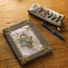 Notebook cover & Pencil case by Yoko Saito, fr. Yoko Saito, Japanese Patchwork, Book Quilt, Antique Quilts, Patch Quilt, Wool Applique, Taupe Color, Small Quilts, Quilted Bag