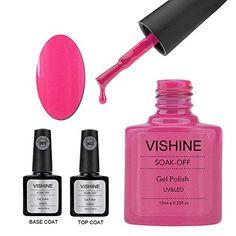 Vishine Gel Nail Polish Soak Off UV LED Nail Art Manicure Top Base Coat   10ml Hot Pink (40519) -- For more information, visit image link.
