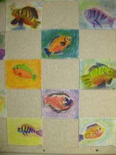 Fish pastels made by 4th graders at SunRidge